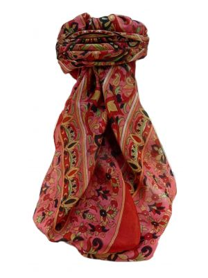 Mulberry Silk Traditional Square Scarf Alia Scarlet by Pashmina & Silk