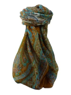 Mulberry Silk Traditional Square Scarf Anil Gold by Pashmina & Silk