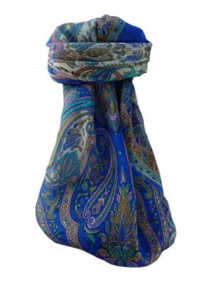 Mulberry Silk Traditional Square Scarf Anil Blue by Pashmina & Silk