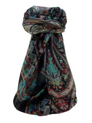 Mulberry Silk Traditional Square Scarf Anil Black by Pashmina & Silk