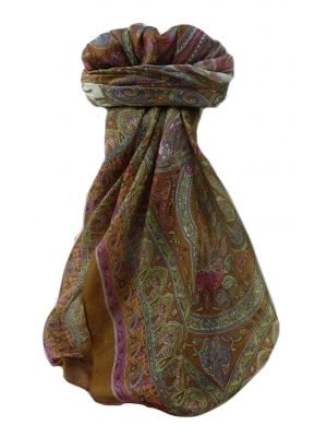 Mulberry Silk Traditional Square Scarf Anil Chestnut by Pashmina & Silk