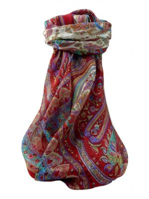 Mulberry Silk Traditional Square Scarf Anil Scarlet by Pashmina & Silk