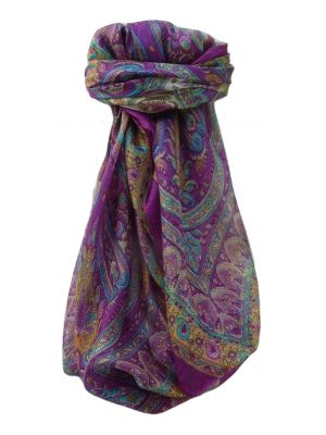 Mulberry Silk Traditional Square Scarf Anil Violet by Pashmina & Silk