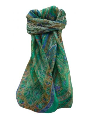 Mulberry Silk Traditional Square Scarf Bina Emerald by Pashmina & Silk