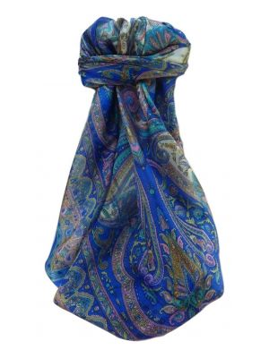 Mulberry Silk Traditional Square Scarf Bina Blue by Pashmina & Silk