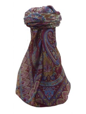 Mulberry Silk Traditional Square Scarf Bina Maroon by Pashmina & Silk