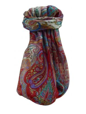 Mulberry Silk Traditional Square Scarf Bina Scarlet by Pashmina & Silk