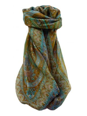 Mulberry Silk Traditional Square Scarf Bina Gold by Pashmina & Silk