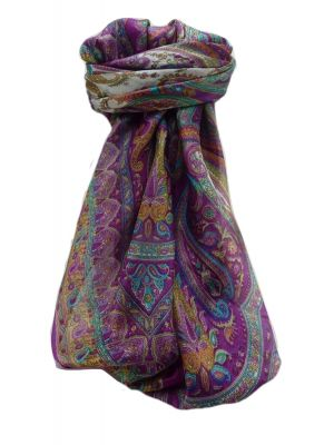 Mulberry Silk Traditional Square Scarf Bina Violet by Pashmina & Silk