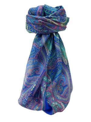 Mulberry Silk Traditional Square Scarf Devan Blue by Pashmina & Silk