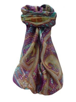 Mulberry Silk Traditional Square Scarf Devan Violet by Pashmina & Silk