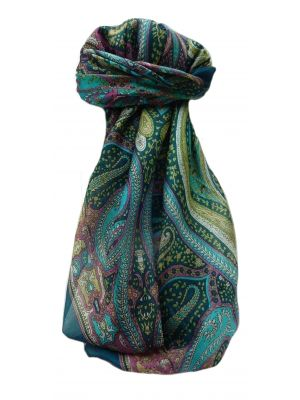 Mulberry Silk Traditional Square Scarf Devan Teal by Pashmina & Silk