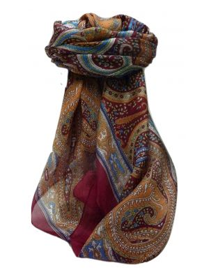 Mulberry Silk Traditional Square Scarf Devan Maroon by Pashmina & Silk