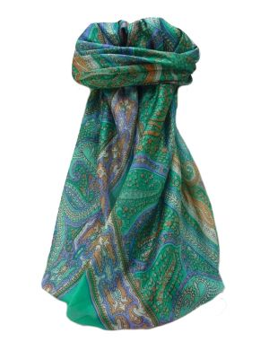 Mulberry Silk Traditional Square Scarf Devan Emerald by Pashmina & Silk