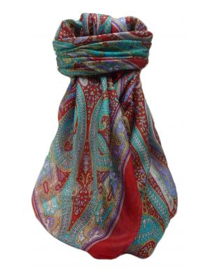Mulberry Silk Traditional Square Scarf Devan Scarlet by Pashmina & Silk