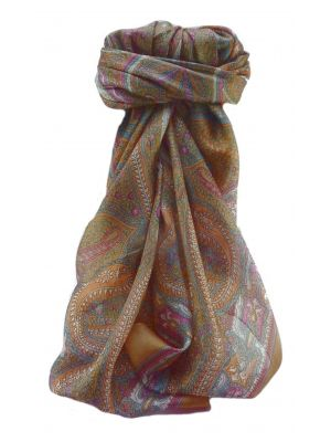 Mulberry Silk Traditional Square Scarf Devan Chestnut by Pashmina & Silk