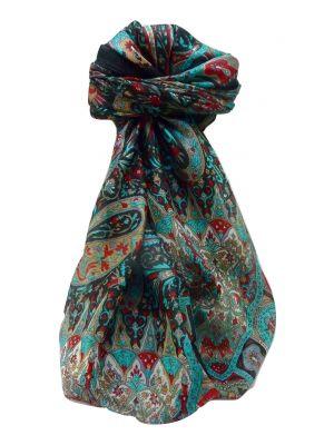 Mulberry Silk Traditional Square Scarf Devika Black by Pashmina & Silk