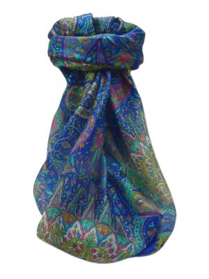 Mulberry Silk Traditional Square Scarf Devika Blue by Pashmina & Silk