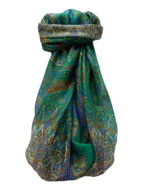 Mulberry Silk Traditional Square Scarf Devika Emerald by Pashmina & Silk