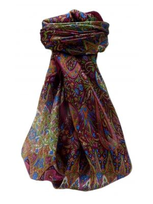 Mulberry Silk Traditional Square Scarf Devika Maroon by Pashmina & Silk