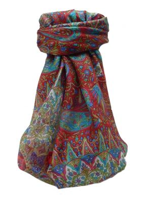 Mulberry Silk Traditional Square Scarf Devika Scarlet by Pashmina & Silk