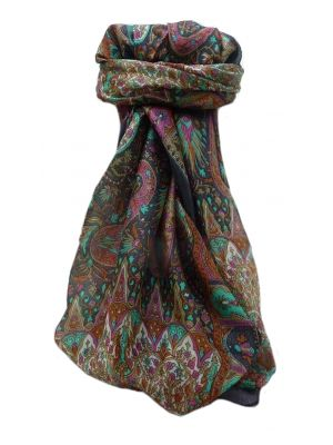 Mulberry Silk Traditional Square Scarf Devika Grey by Pashmina & Silk