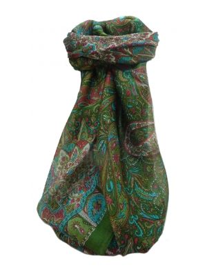 Mulberry Silk Traditional Square Scarf Devika Sage by Pashmina & Silk