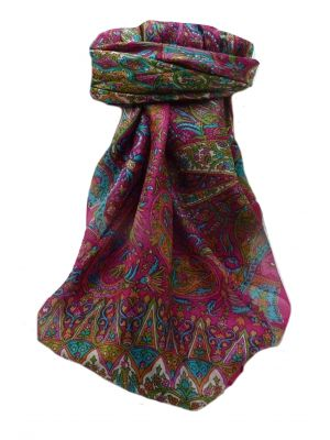 Mulberry Silk Traditional Square Scarf Devika Pink by Pashmina & Silk