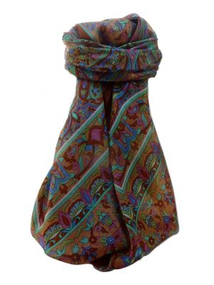 Mulberry Silk Traditional Square Scarf Geetha Copper by Pashmina & Silk