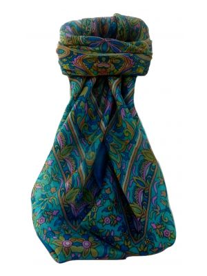 Mulberry Silk Traditional Square Scarf Geetha Aqua by Pashmina & Silk