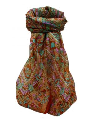 Mulberry Silk Traditional Square Scarf Geetha Marigold by Pashmina & Silk