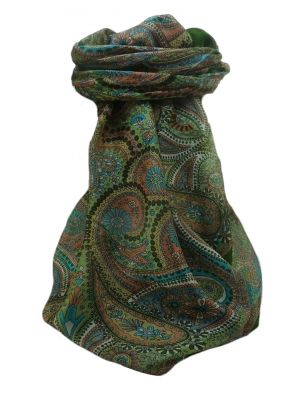 Mulberry Silk Traditional Square Scarf Gul Sage by Pashmina & Silk