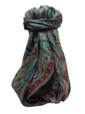 Mulberry Silk Traditional Square Scarf Gul Black by Pashmina & Silk