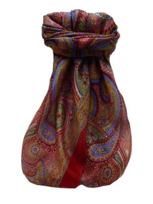 Mulberry Silk Traditional Square Scarf Gul Scarlet by Pashmina & Silk