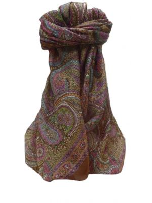 Mulberry Silk Traditional Square Scarf Gul Chestnut by Pashmina & Silk