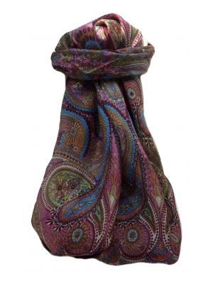 Mulberry Silk Traditional Square Scarf Gul Maroon by Pashmina & Silk
