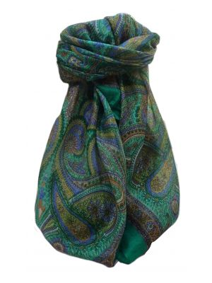 Mulberry Silk Traditional Square Scarf Gul Emerald by Pashmina & Silk