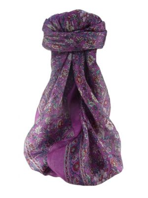 Mulberry Silk Traditional Square Scarf Jha Lilac by Pashmina & Silk