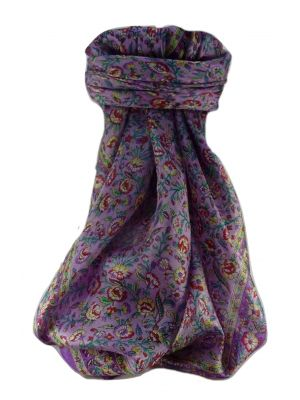 Mulberry Silk Traditional Square Scarf Jha Violet by Pashmina & Silk