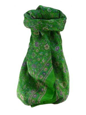 Mulberry Silk Traditional Square Scarf Jha Lime by Pashmina & Silk