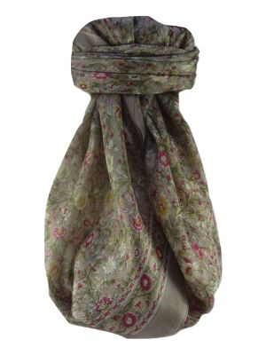 Mulberry Silk Traditional Square Scarf Jha Grey by Pashmina & Silk