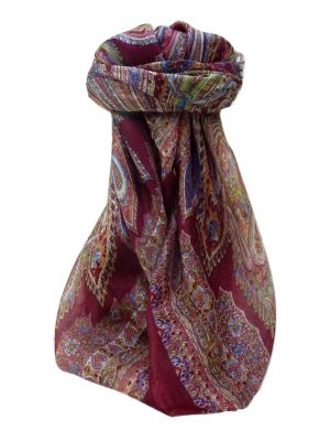 Mulberry Silk Traditional Square Scarf Kajol Maroon by Pashmina & Silk