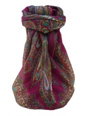 Mulberry Silk Traditional Square Scarf Kajol Pink by Pashmina & Silk