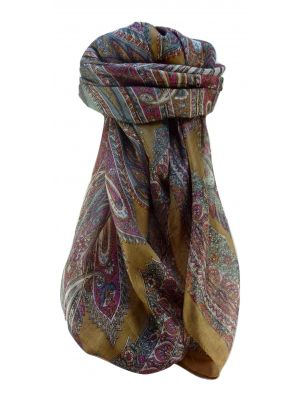 Mulberry Silk Traditional Square Scarf Kajol Chestnut by Pashmina & Silk