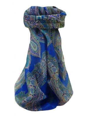 Mulberry Silk Traditional Square Scarf Kajol Blue by Pashmina & Silk