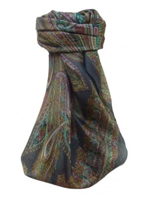 Mulberry Silk Traditional Square Scarf Kajol Grey by Pashmina & Silk