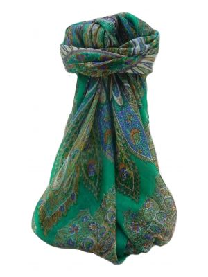 Mulberry Silk Traditional Square Scarf Kajol Emerald by Pashmina & Silk