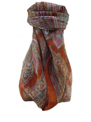 Mulberry Silk Traditional Square Scarf Kajol Copper by Pashmina & Silk