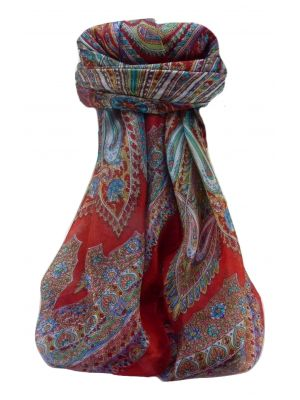 Mulberry Silk Traditional Square Scarf Kajol Scarlet by Pashmina & Silk