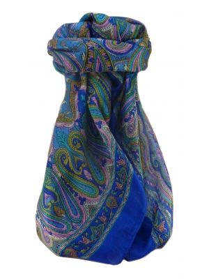 Mulberry Silk Traditional Square Scarf Karun Blue by Pashmina & Silk